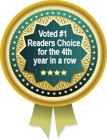 Picture of  ribbon showing Voted #1 Readers Choice for the 4th year in a row